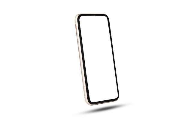 Makieta smartfona, na białym tle telefon komórkowy z szablonem ramki pusty ekran na białym tle.