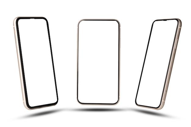 Makieta smartfona, na białym tle telefon komórkowy z trzema kątami z szablonem ramki pusty ekran na białym tle.