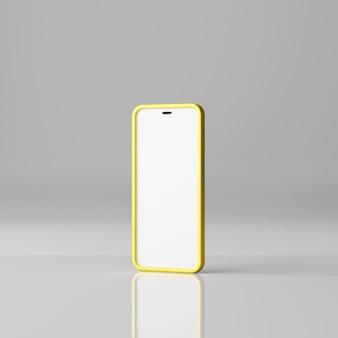 Makieta smartfona z pustym białym ekranem na białym tle. renderowanie 3d
