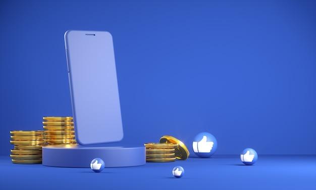 Makieta smartfona ze złotą monetą i jak ikona emoji 3d renderowania
