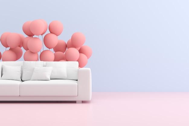 Makieta sofy z balonami w minimalistycznym stylu wnętrza.