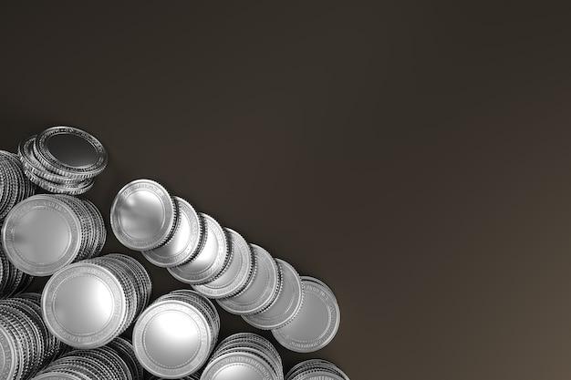 Makieta stosu srebrnych monet do wymiany tokenów na rynku kryptowalut promujących cele reklamowe