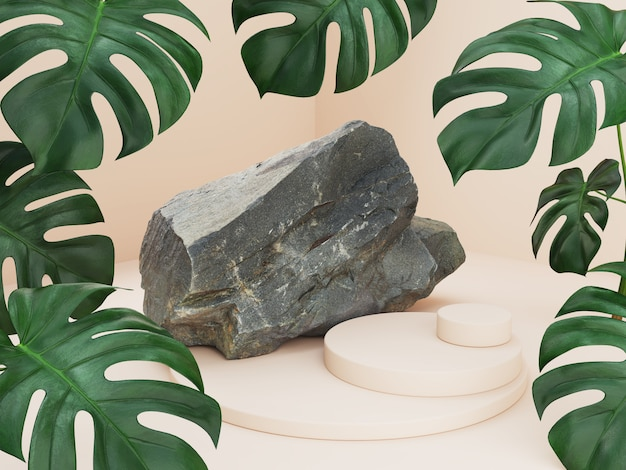 Makieta streszczenie podium z liśćmi palmowymi