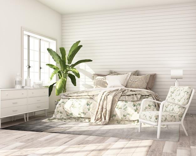 Makieta sypialni nowoczesny klasyczny styl z białą drewnianą szafką ścienną łóżko i fotel render 3d
