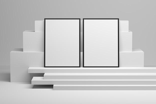 Makieta szablon z dwiema ramkami stojącymi na ułożonych blokach geometrycznych. ilustracja 3d.