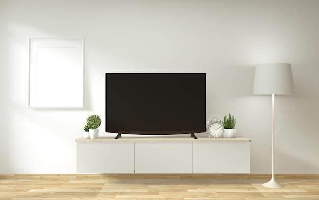 Makieta szafki i wyświetlacza telewizyjnego o minimalistycznym wystroju i stylu japońskim