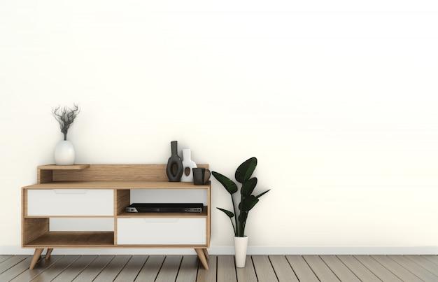 Makieta szafki telewizyjnej w nowoczesnym pustym pokoju japoński - styl zen, minimalne wzory. renderowanie 3d