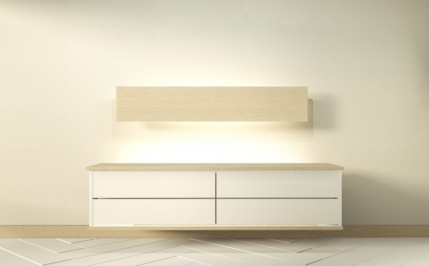 Makieta szafki w nowoczesnym pustym pokoju zen, minimalne wzory. renderowania 3d