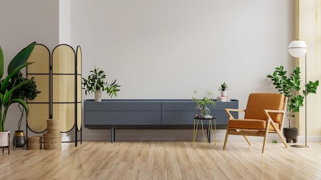 Makieta szafki w nowoczesnym salonie ze skórzanym fotelem i rośliną na tle białej ściany, renderowanie 3d