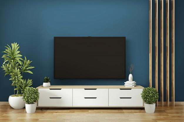 Makieta szafki w pokoju granatowym na drewnianej podłodze minimalistyczny design. renderowanie 3d