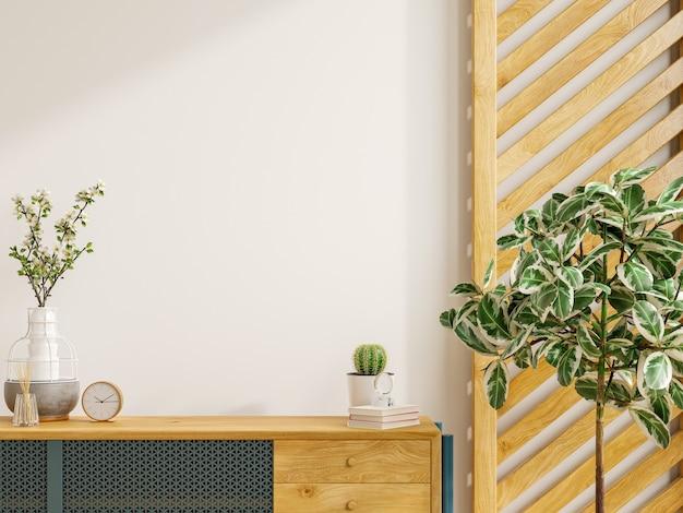 Makieta szafki we współczesnym, pustym pokoju z białą ścianą. renderowanie 3d