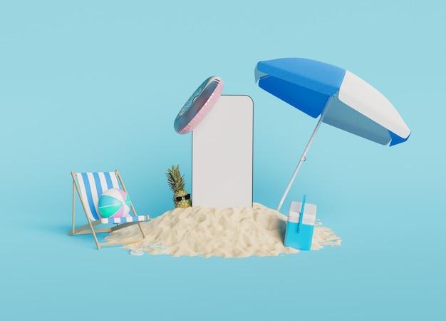 Makieta telefonu komórkowego na piaszczystej plaży