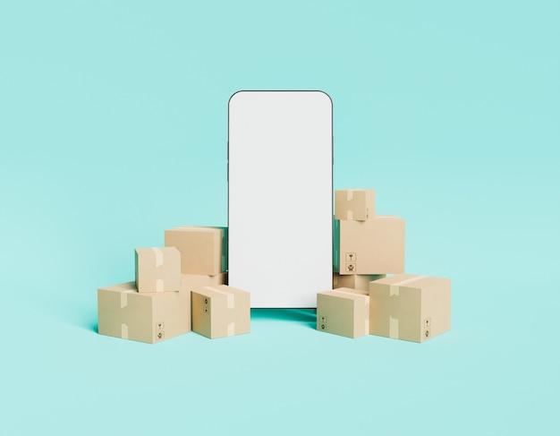 Makieta telefonu komórkowego z paczkami dostawy