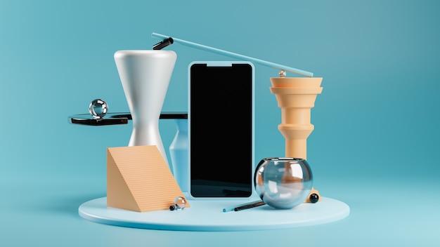 Makieta telefonu na nowoczesnym abstrakcyjnym cokole w odcieniach niebieskiego i pomarańczowego. równoważenie kształtów geometrycznych