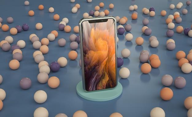 Makieta telefonu z kolorowymi kulkami