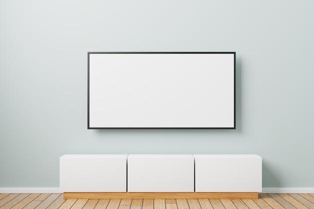 Makieta telewizora na ścianie. minimalistyczny wystrój wnętrza z szafką nocną tv. renderowane w 3d