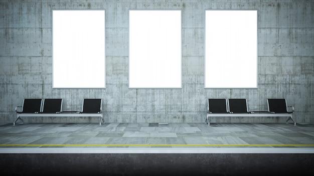 Makieta trzech pustych plakatów na stacji metra