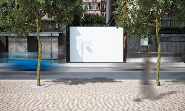 Makieta ulicy puste ogrodzenie reklamy
