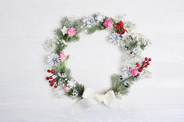 Makieta wieniec świąteczny w stylu rustykalnym z lato, płaskie świeckich