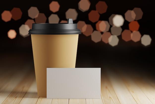 Makieta wizytówki przerwa na kawę. wizytówka w kawiarni na stole w pobliżu papierowego kubka do kawy. renderowania 3d.