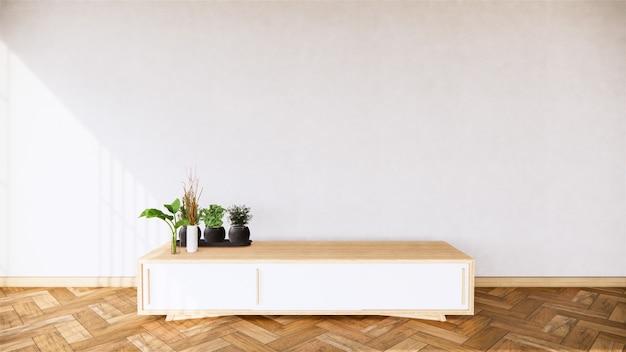 Makieta wnętrza drewnianej szafki i dekoracji roślin we wnętrzu tropikalnego pokoju, renderowanie 3d