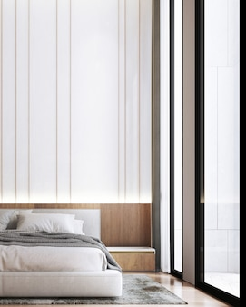 Makieta wnętrza nowoczesnej sypialni, szare łóżko na tle pustej białej ściany, styl skandynawski, renderowanie 3d