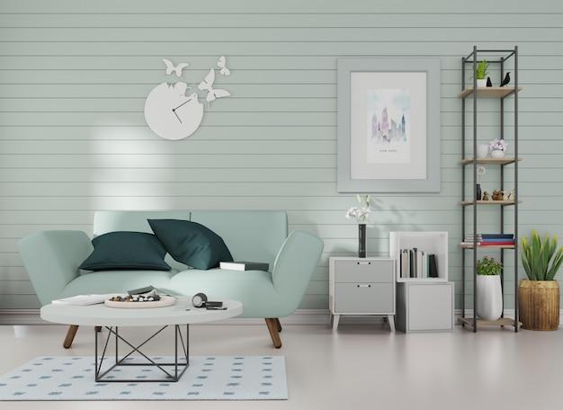 Makieta wnętrza ramka na zdjęcia jest przymocowana do niebieskiej sofy w pokoju z niebieskimi listwami na ścianie