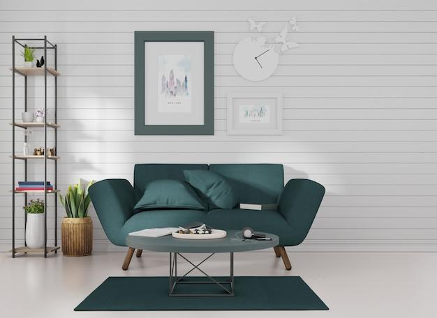 Makieta wnętrza ramka na zdjęcia przymocowana do ciemnoniebieskiej sofy w pokoju z niebieskimi listwami na ścianie