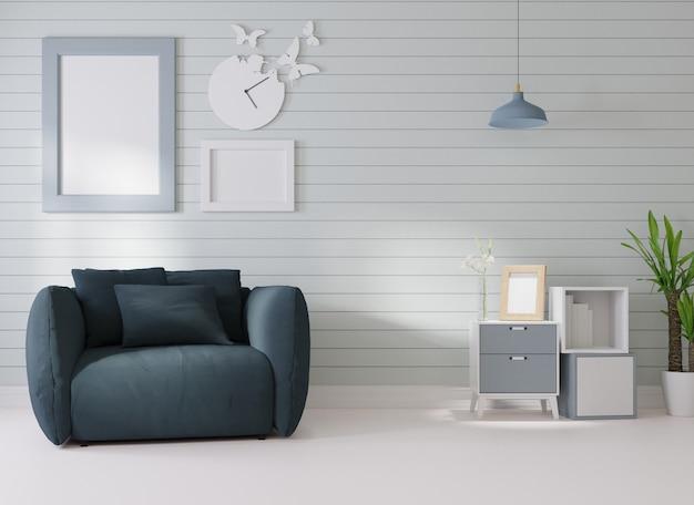 Makieta wnętrza w białym pokoju ciemnoniebieska sofa stoi obok ramki na zdjęcia na ścianie