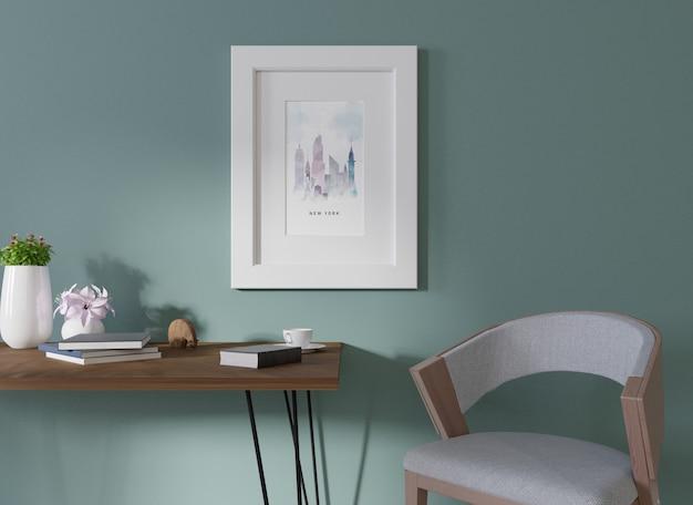 Makieta wnętrza w pokoju z niebieskimi listwami na ścianie i ramą na zdjęcia ustawiony jest niebieski fotel