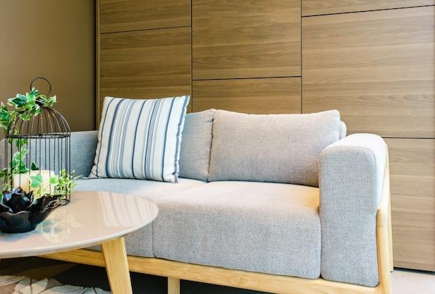 Makieta wnętrza z kanapą z tkaniny