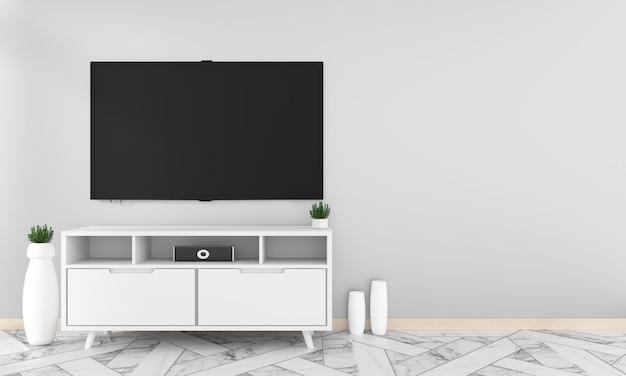Makieta z pustym czarnym ekranem wiszącym na wystroju szafki, salon w stylu zen. 3d ren