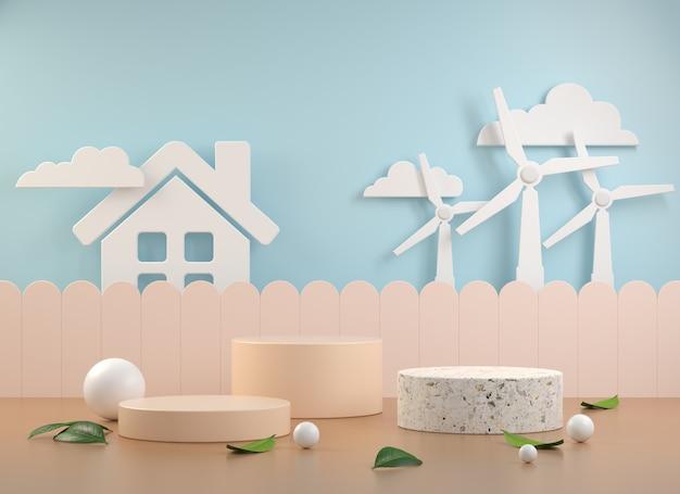 Makieta zestaw wyświetlania z koncepcji turbiny wiatrowej czystej energii streszczenie tło renderowania 3d