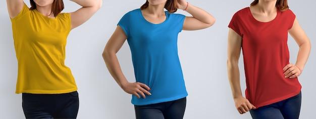 Makieta zestaw z dopasowanie młoda kobieta w puste t-shirt na białym tle na szarym tle, widok z przodu. zawiera trzy schematy kolorystyczne: czerwony, niebieski, żółty. szablon projektu lub logo.