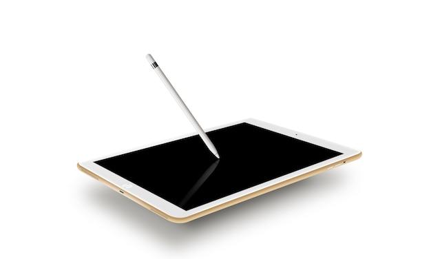Makieta złoty tablet realistyczny styl z rysikiem.