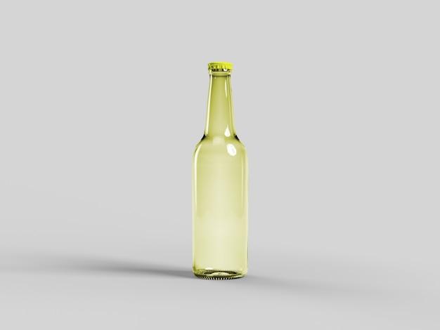 Makieta żółtej butelki piwa na białym tle - pusta etykieta