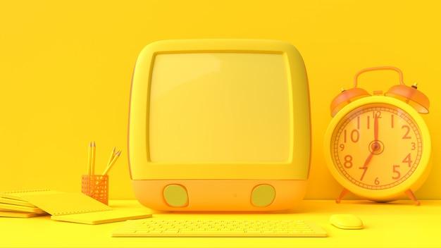 Makieta żółty laptop