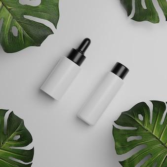 Makiety kosmetyczne renderowania 3d. makieta sceny z podium do wyświetlania produktów. białe tło i roślin