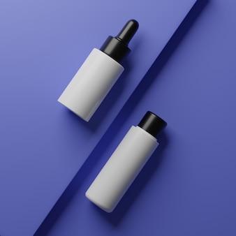 Makiety kosmetyczne renderowania 3d. makieta sceny z podium do wyświetlania produktów. niebieskie tło