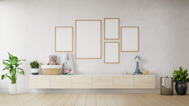 Makiety plakat z minimalistycznym pastelowym hipster vintage na szafce.