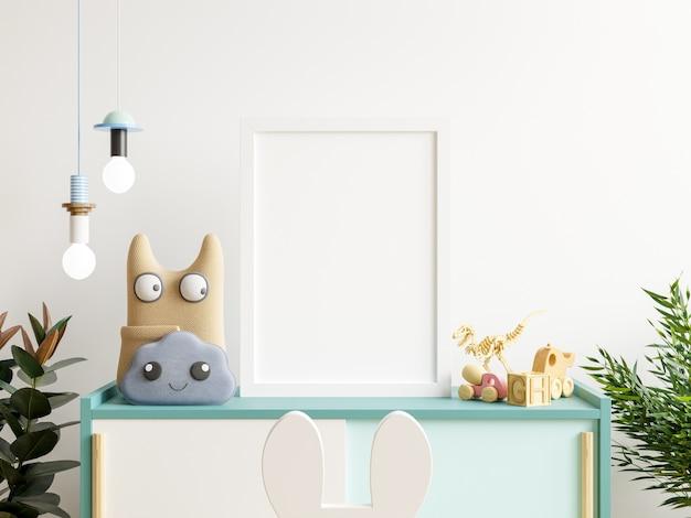 Makiety plakatów we wnętrzu pokoju dziecięcego, plakaty na niebieskiej szafce