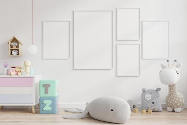 Makiety plakatów we wnętrzu pokoju dziecięcego.