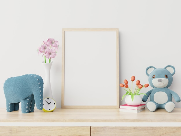 Makiety plakatów we wnętrzu pokoju dziecka, renderowanie 3d