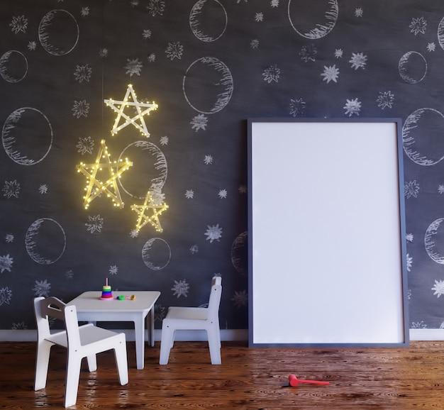 Makiety plakatowy pokój dziecięcy z żarówkami.