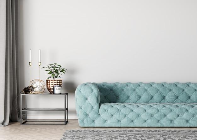 Makiety puste wnętrze ściany do salonu, luksusowa niebieska sofa
