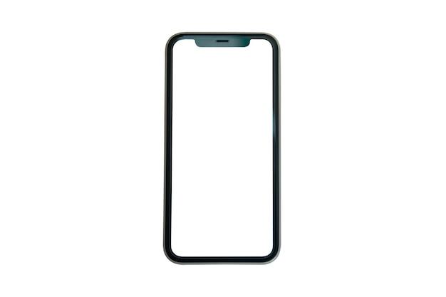 Makiety pusty ekran smartfona na białym tle ze ścieżką przycinającą