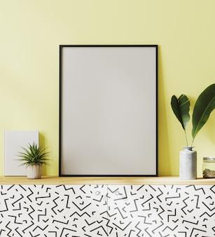 Makiety ramka plakatowa z żółtym tle ściany na czarno-białej szafce z liśćmi w wazonie i zieloną rośliną, renderowanie 3d