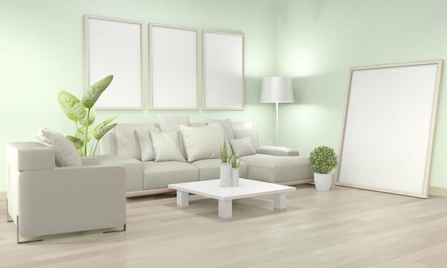 Makiety ramy plakatu w salonie z żółtą sofą i roślinami dekoracyjnymi na podłodze