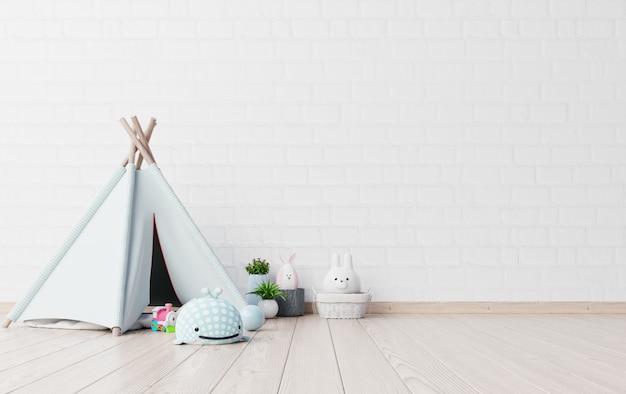 Makiety w pokoju zabaw dla dzieci z namiotem i stołem dollund.