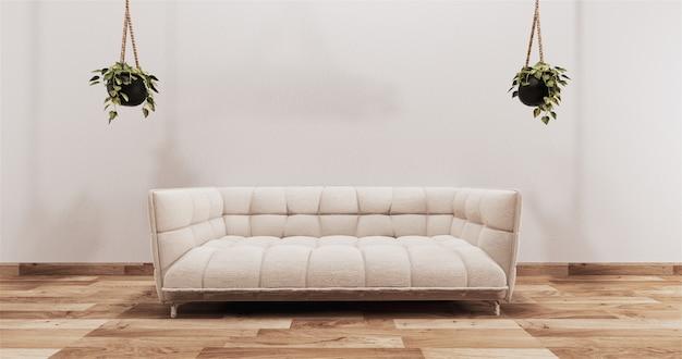 Makiety współczesnej dekoracji salonu w japońskim stylu, minimalistycznym stylu zen